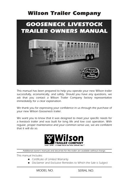 Owner S Manual Wilson Trailer