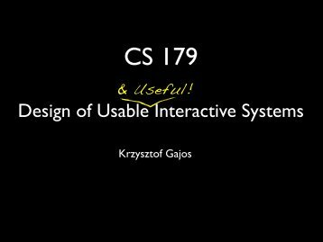 Design of Usable Interactive Systems