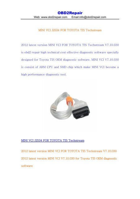 MINI VCI J2534 FOR TOYOTA TIS Techstream pdf - OBD2Repair