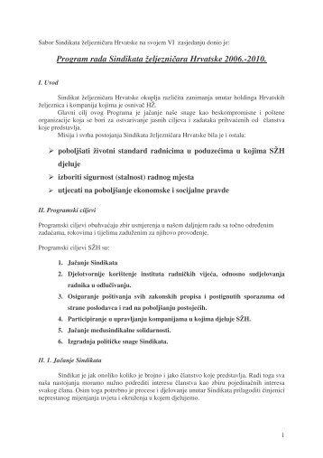 Program rada - Sindikat Željezničara Hrvatske