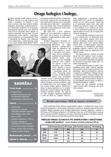 VIJESTI SŽH, veljača 2007 - Sindikat Željezničara Hrvatske