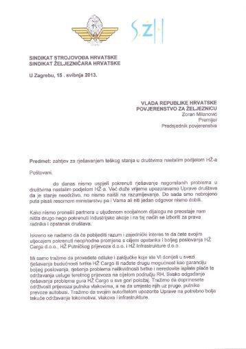 Dopis premijeru (PDF) - Sindikat Željezničara Hrvatske