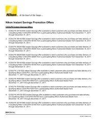 Nikon Instant Savings Promotion Offers