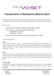 QCF Transportation of Radioactive Material Quals Structure - Ramtuc
