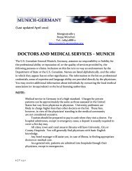 DOCTORS AND MEDICAL SERVICES – MUNICH - Germany