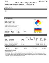MSDS - Material Safety Data Sheet - Genova Products