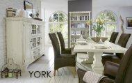 York, massive Fichte, creme weiß patiniert mit Gebrauchsspuren