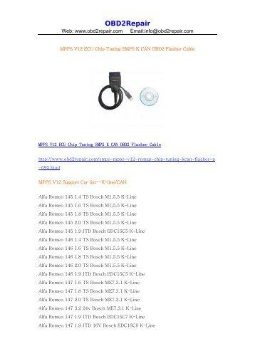 MPPS V12 ECU Chip Tuning supported car list - OBD2Repair