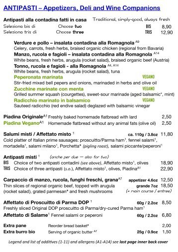 MAIN MENU (English) - Bio-Hostaria RÒ E BUNÌ - Organic Ristorante Munich