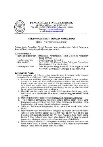 PENGADILAN TINGGI BANDUNG - PT Bandung