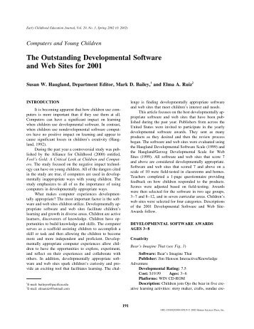 The Outstanding Developmental Software and Web Sites for 2001