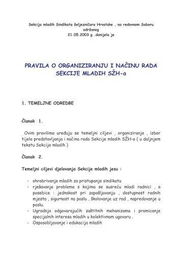 Pravila rada - Sindikat Željezničara Hrvatske