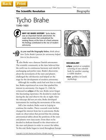 Tycho Brahe Worksheet - J-blanchard.org