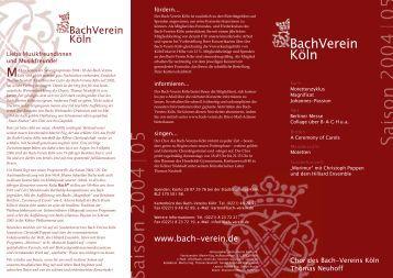 MKöln sind gleich mehrere gute Nachrichten ... - Bach-Verein Köln