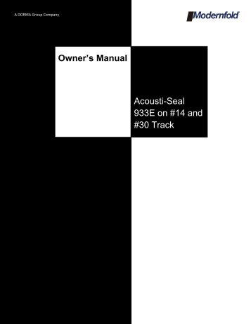 Acousti-Seal 933E Owners Manual - Modern Door & Equipment ...