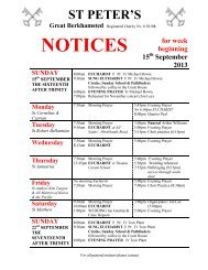 NOTICES - St Peter's Church, Berkhamsted, Herts