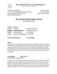The Second Sunday before Advent - St Peter's Church ...
