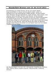 Wanderfahrt Bremen vom 15. bis 21.07.2013 - Ruderverein Wiking ...