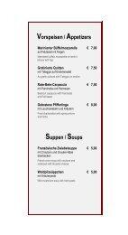 Vorspeisen/ Appetizers Suppen / Soups