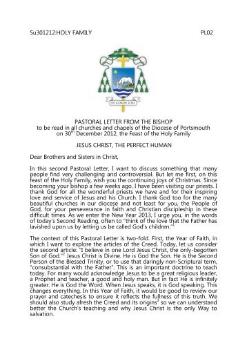 Pastoral letter - Roman Catholic Diocese of Portsmouth