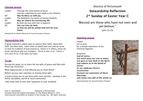 Stewardship Reflection 2nd Sunday of Easter Year C - Diocese