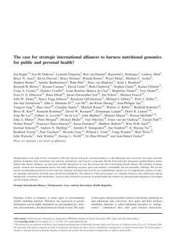 The case for strategic international alliances to harness nutritional ...