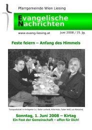 Feste feiern - Evangelische Pfarrgemeinde Wien-Liesing