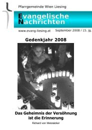 Gedenkjahr 2008 - Evangelische Pfarrgemeinde Wien-Liesing