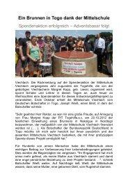 Zeitungsbericht zur Finanzierung des Brunnens in Togo - Magix