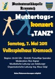 """Muttertags- konzert """"TANZ"""" - Bundesmusikkapelle Kramsach"""