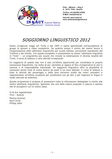 Programma Aschau 6 notti / 7 giorni - In & Aut Soggiorno Linguistico