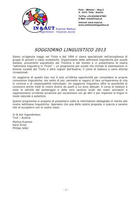 Programma Aschau 6 notti / 7 giorni - In & Aut Soggiorno ...