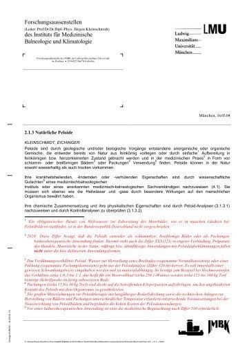 2.1.3 Natürliche Peloide - Instituts für Medizinische Balneologie und ...
