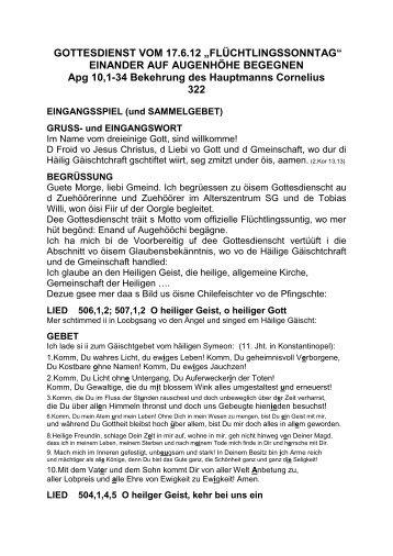"""GOTTESDIENST VOM 17.6.12 """"FLÜCHTLINGSSONNTAG ..."""