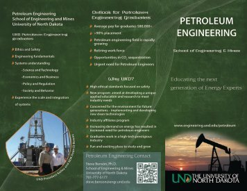 petroleum engineering - Engineering & Mines - University of North ...