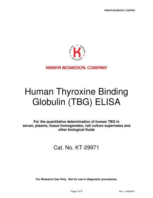 Thyroxine Binding Globulin Tbg Elisa Kit Human Kamiya