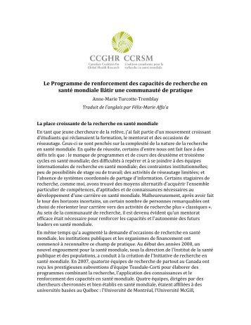 Le Programme de renforcement des capacités de recherche en ...