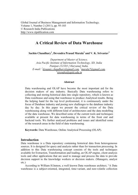 A Critical Review of Data Warehouse - Research India Publications