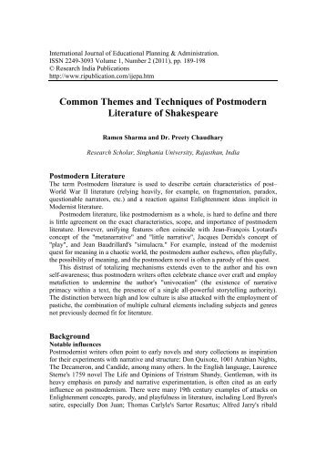 Common Themes and Techniques of Postmodern Literature of ...