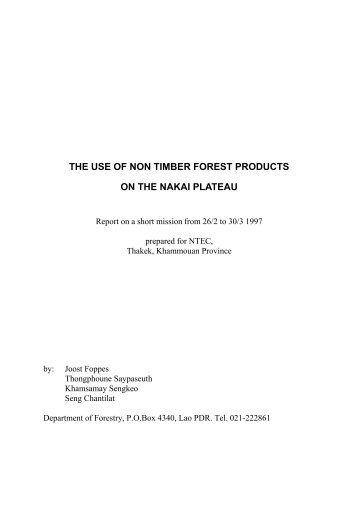 NTFPs on Nakai Plate.. - TABI