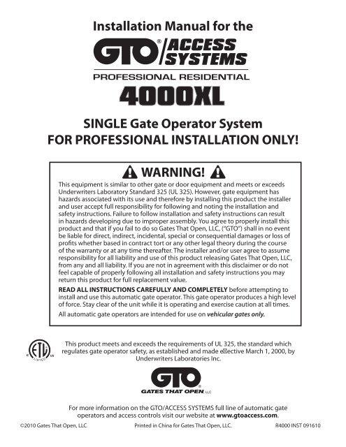 4000XL - Gate Openers - GTO/Pro on