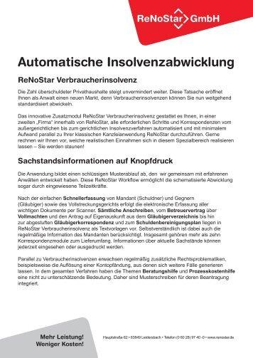 automatische insolvenzabwicklung renostar verbraucherinsolvenz - Schuldenbereinigungsplan Muster