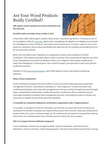 Are Your Wood Products Really Certified? - Forest Legality Alliance