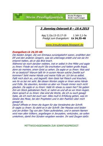 PREDIGT -- 3. Sonntag Osterzeit B  –-- 19.4.2015