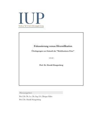 Fokussierung versus Diversifikation - Lehrstuhl für ...