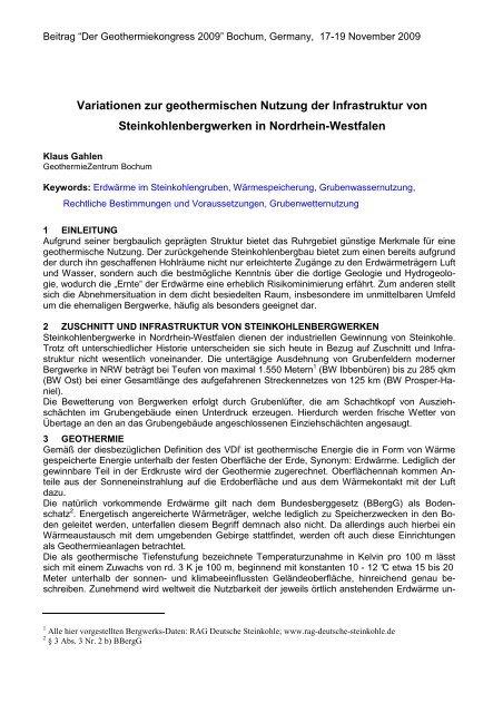 Variationen zur geothermischen Nutzung der ... - Geothermie