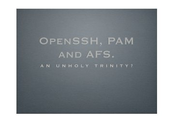 OpenSSH, PAM and AFS. - Dice