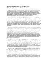 Historic Significance of Takoma Park - Historic Takoma Inc.
