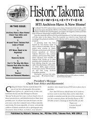 Oct. 1999 - Historic Takoma Inc.
