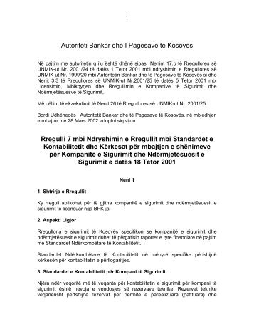 7 Rregulli 7 mbi Ndryshimin e Rregullit mbi Standardet e ...